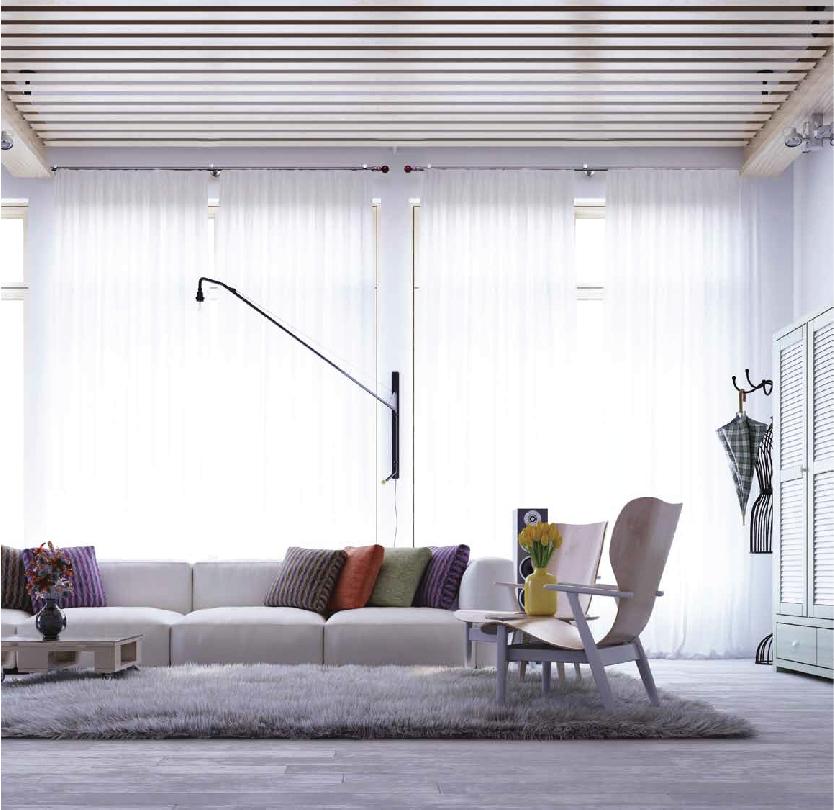 Tenda classica apertura centrale con bastone rotondo in alluminio satinato moderno.